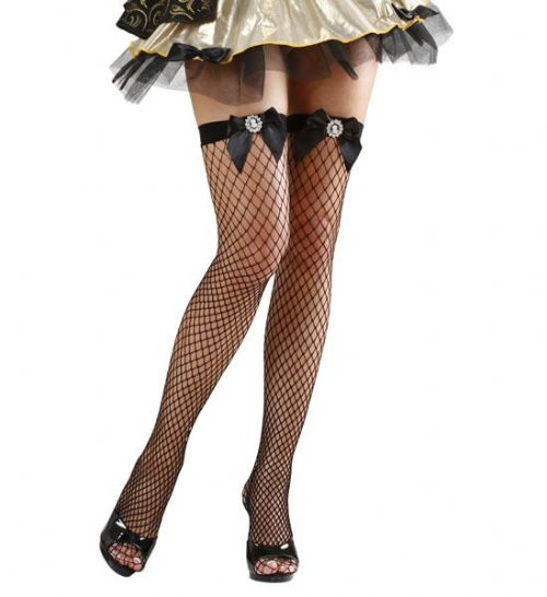 Ladies Black Fishnet Thigh Highs W/Cameo Bows Sexy Erotic Sissy Fancy Dress